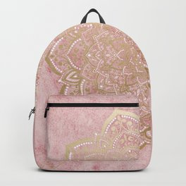 MOON DANCE MANDALA IN GOLD AND PINK Backpack