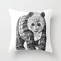 panda Throw Pillows featuring Panda by BIOWORKZ