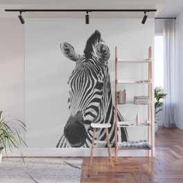 Black and white zebra illustration Wall Mural