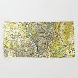 Vintage Map of Asheville North Carolina (1943) Beach Towel