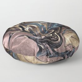 Marble Paint Swirl Trendy Abstract Glitter Rose Gold Pink Teal Turquoise Floor Pillow