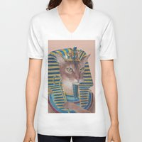 egyptian V-neck T-shirts featuring Egyptian Cat by Rachel Waterman