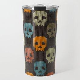 Knitted skull pattern - colorful Travel Mug