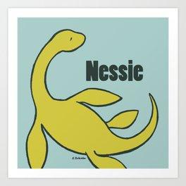 Nessie - The Loch Ness Monster (green) Art Print