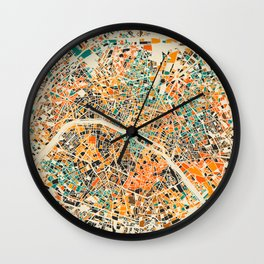 Paris mosaic map #3 Wall Clock