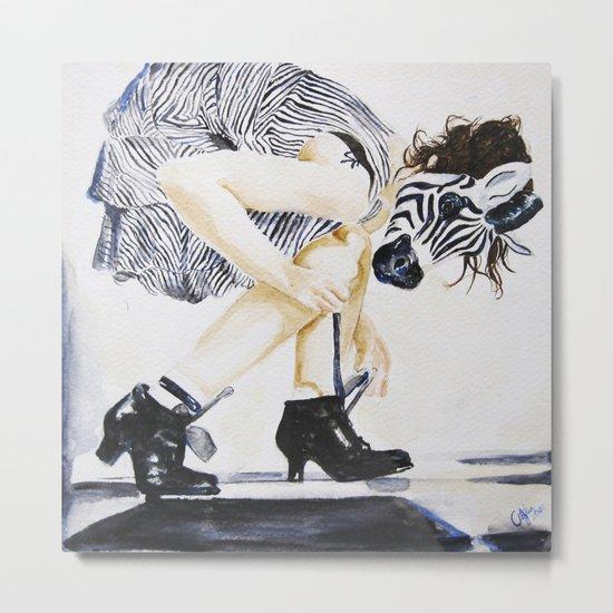 zebra girl Metal Print