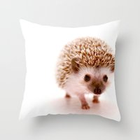 hedgehog Throw Pillows featuring Hedgehog by Derek Doi