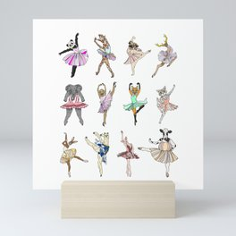Animal Square Dance Hipster Ballerinas Mini Art Print