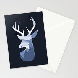 Deer Abstract Blue Landscape Design Stationery Cards