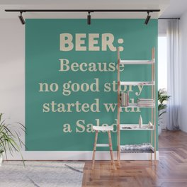 Beer illustration quote, vintage Pub sign, Restaurant, fine art, mancave, food, drink, private club Wall Mural