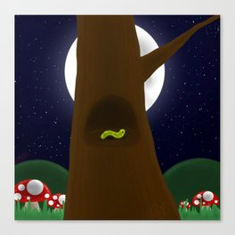 A Worm in a Hole in a Tree in a Forest Canvas Print