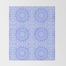 Light Blue Purple Mandala   Flower Kaleidoscope Digital Design Throw Blanket