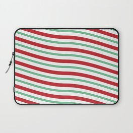 Red White and Green Christmas Candy Cane Pattern Laptop Sleeve