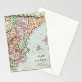 Vintage Map of Spain and Portugal Stationery Cards