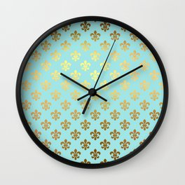 Royal gold ornaments on aqua turquoise background Wall Clock