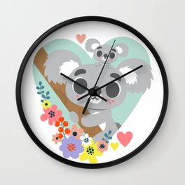 Koala Bear Love / Cute Animal Wall Clock