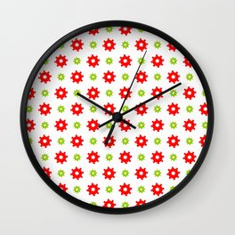 wheel and abstraction 3 red and green Wall Clock