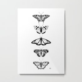 Not so real Butterflies black-and-white Metal Print