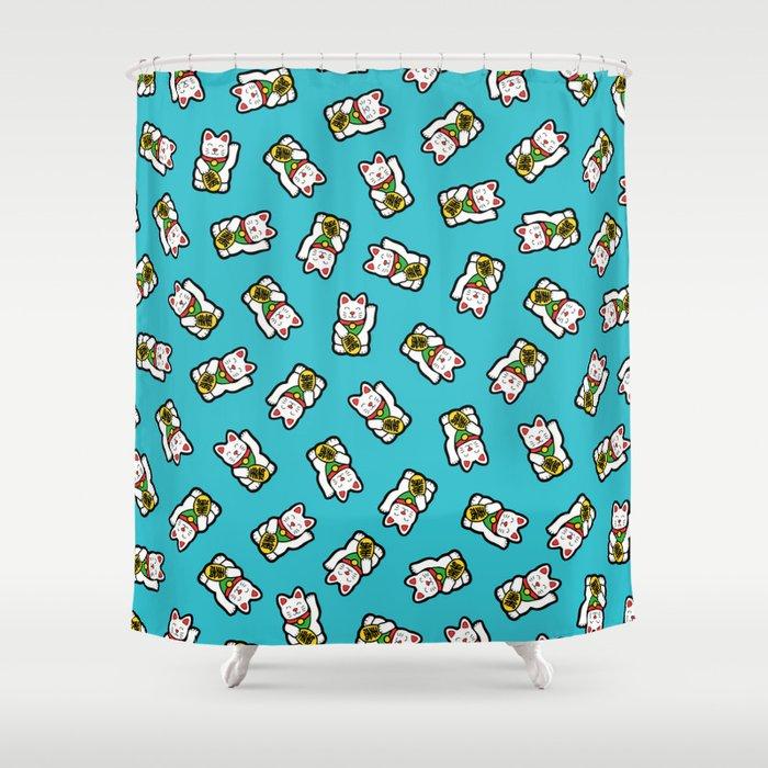 Lucky Cat Pattern Shower Curtain