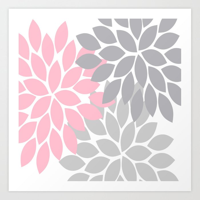 Bold Colorful Pink Grey Dahlia Flower Burst Petals Art
