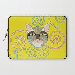 Yellow Spiral Cat Laptop Sleeve