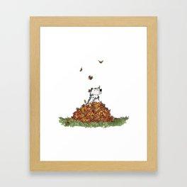 Saunders in Leaves Framed Art Print