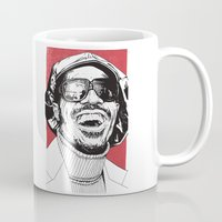 stevie nicks Mugs featuring Stevie Wonder by Andy Christofi