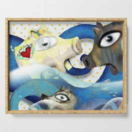Bahamas swimming pigs surfing waves Serving Tray