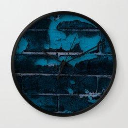 Aging Brick Blue Wall Clock