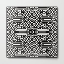 grid black white 3 Metal Print