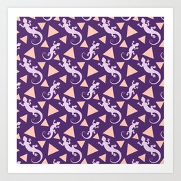 Wild crawling lizards, geometric triangle shapes whimsical ethnic tribal retro vintage dark purple lizard abstract pattern. Gifts for geometry and animal lovers. Herpetology theme. Art Print