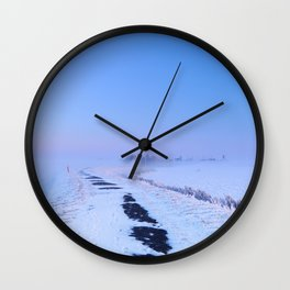 III -  Lake and dike at sunrise in winter in The Netherlands Wall Clock