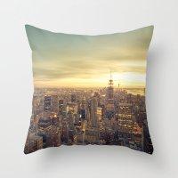 new york skyline Throw Pillows featuring New York Skyline Cityscape by Vivienne Gucwa