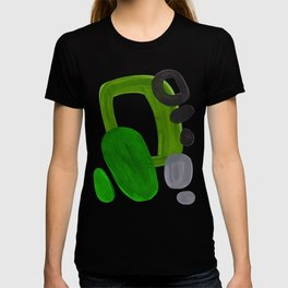 Mid Century Vintage 70's Design Abstract Minimalist Colorful Pop Art Olive Green Dark Green Grey T-shirt