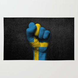 Swedish Flag on a Raised Clenched Fist Rug