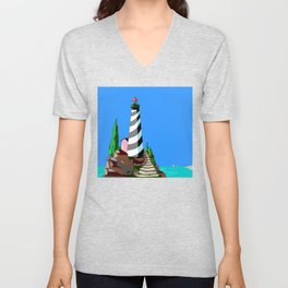 A Lighthouse over looks the Rocky Cove and Beach Unisex V-Neck