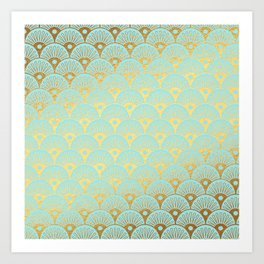 Art Deco Mermaid Scales Pattern on aqua turquoise with Gold foil effect Art Print
