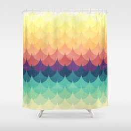 Sailing in Rainbow Waves Shower Curtain