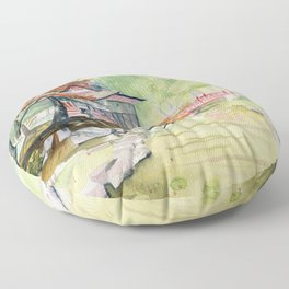 Japanese Garden Floor Pillow
