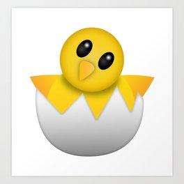 Hatching baby chick Emoji Art Print