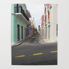 Street View of Old San Juan Puerto Rico Poster