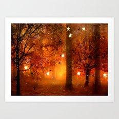 Surreal Fantasy Fairy Tale Woodlands Nature Trees Stars Print Art Print