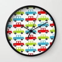 cars Wall Clocks featuring cars by laura mendoza v.