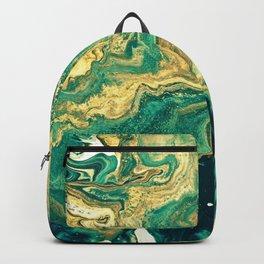 M A R B L E - emerald & brass Backpack