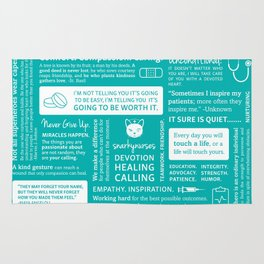 Positivity in Nursing ~ Teal Rug