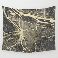 portland Wall Tapestries featuring Portland Map by Map Map Maps