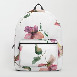 Watercolor roses. Delicate pink flowers. Backpack