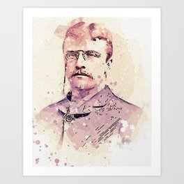 A Young Theodore  Teddy  Roosevelt 1858-1919 watercolor by Ahmet Asar Art Print