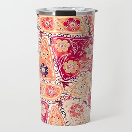 Vintage Patchwork Flower Garden, Red and Cream Floral Sewing Thread Quilt Repeat Pattern Travel Mug