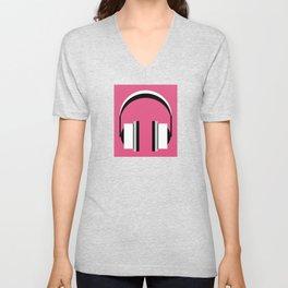 Headphones in fandango pink Unisex V-Neck